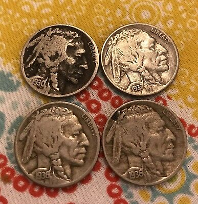VINTAGE United States Coin Lot of (4) Buffalo Nickels 1930/1936/1936/1937