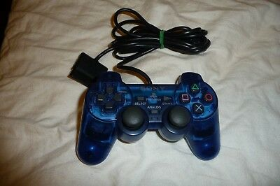 Official Sony PlayStation PS2 Dual Shock II 2 Blue Analog OEM Controller EUC