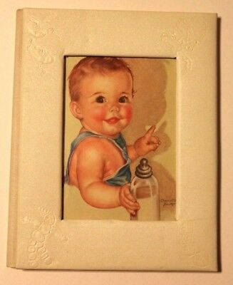 1943 Baby's Treasures Early Days Baby Album Book Color Artwork by R.S. Kalwajtys