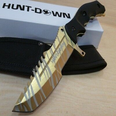 """9.5"""" Fixed Gold Blade Tactical Hunting Knife Full Tang Bowie Survival W Sheath"""