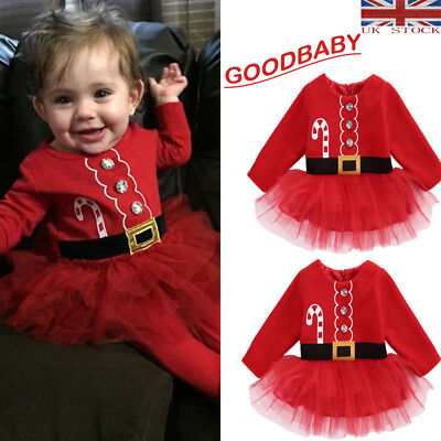 UK Stock newborn Kid Baby Girl Clothes XMAS Santa Claus Tulle Tutu Dress Outfits