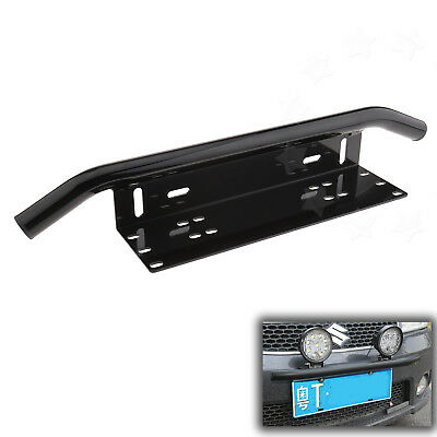 Black License plate frame Number Plate Bull Bar Bumper Mount Bracket LED Light