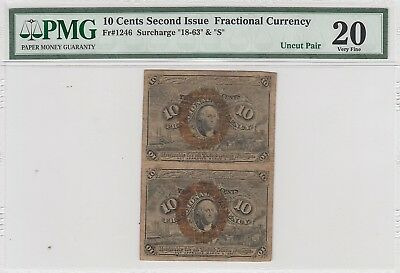 10 Cents Second Issue Fractional Currency Fr#1246 Surcharge 1863 & S (PMG 20 VF)