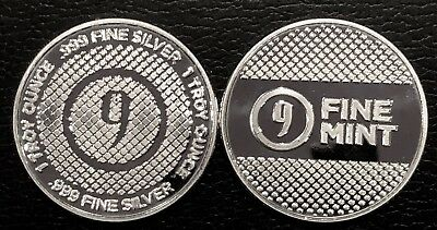 Lot Of 2 - 1 Oz Silver Round - 9Fine Mint (Diamond Pattern) .999 Fine Bu