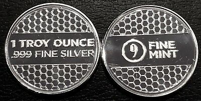Lot Of 2 - 1 Oz Silver Round - 9Fine Mint (Beehive) .999 Fine Bu