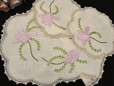 Stunning Vintage Hand Embroidered Duchess Set Mauve Floral