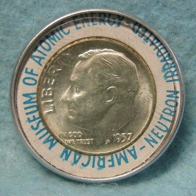 1957 Encased Roosevelt Dime American Museum Of Atomic Energy Neutron Irradiated