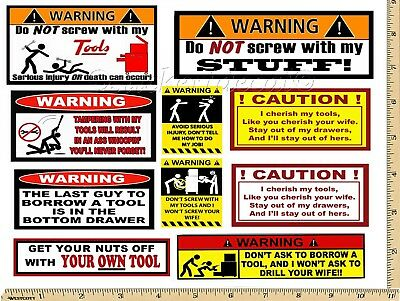 Funny Warning Stickers - Complete set of 10 Decals  - Great For Toolbox USA