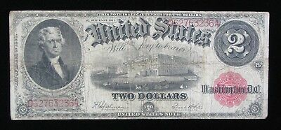 1917 LARGE SIZE RED SEAL $2 LEGAL TENDER UNITED STATES NOTE * US Paper Money