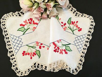 Vintage Hand Embroidered Doily Red Berries