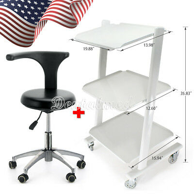 Medical Metal 3 Layers Mobile Tool Cart Trolley + PU Leather Doctor Stool Chair