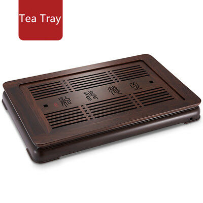 Chinese ebony tea tray large solid wood tea table water draining serving tray