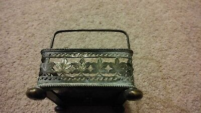 Silver Metal Diamond Marked Square Basket with Handle 1867 Britain