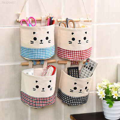 0D31 Cotton Single Pocket Wall Hanging Storage Bags Garden Organizer Holder