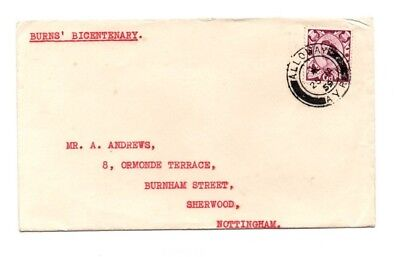 1959 Robert Burn's Birth Bicentenary Cover - posted Alloway Ayr 25 January 1959