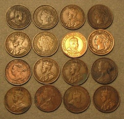 16 Piece CANADA LARGE CENT COIN LOT 1800's & 1900's Average Circulated Details