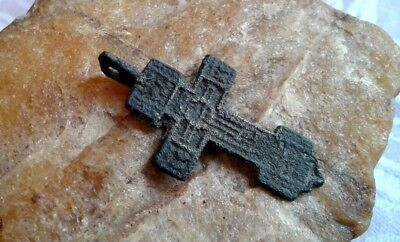 "ANTIQUE ORTHODOX ""OLD BELIEVERS"" SMALL SWORD-SHAPED CROSS with CRESCENT ""TSATA"""