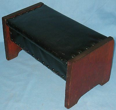 VINTAGE PRIMITIVE STYLE BENCH FOOTSTOOL PINE w/BLACK VINYL COVERED TOP