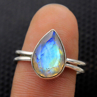 Faceted Rainbow Moonstone Gems 925 Sterling Silver Jewelry Ring Size us 6.5-7