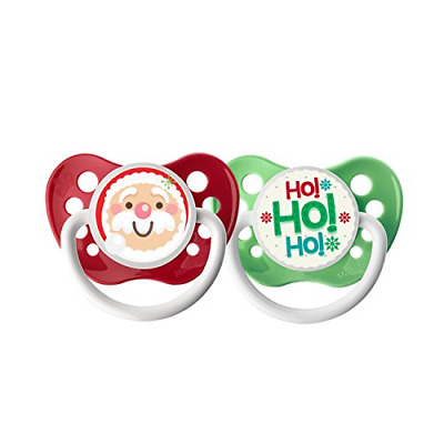 Ulubulu Holiday Pacifier, Christmas Santa Claus and HoHoHo, 0-6 Months