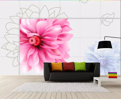 3D Bright pink flower Self-adhesive Removable Photo Wallpaper Wall Mural Sticker