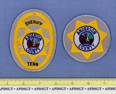 "ANDERSON COUNTY SHERIFF (2 Patches Set Lot) TENNESSEE Police Hat Patch 3"" & 4"""