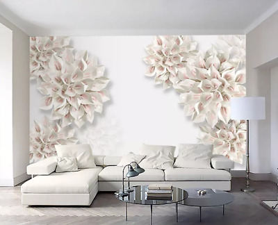 3D Pure flower Self-adhesive Removable Photo Wallpaper Wall Mural Sticker