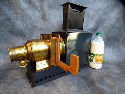 A Good Complete Victorian Magic Lantern With Slide Carriage