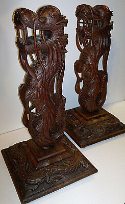 "Rare Pair Antique Anglo Indian Carved Dragons ~Jewelled Eyes~18"" tall"