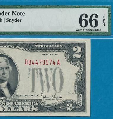 $2.00 1928-G  Red Seal  Pmg  Gem  New 66Epq United States Note