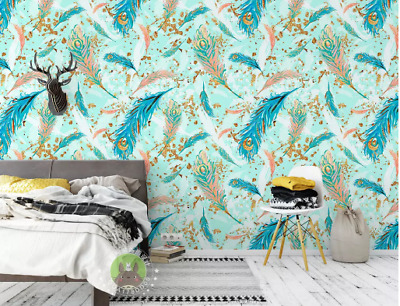3D Green feather Self-adhesive Removable Photo Wallpaper Wall Mural Sticker