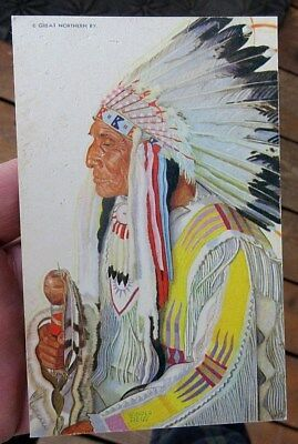 ca 1940s GN RAILROAD WINOLD REISS NATIVE AMERICAN INDIAN CHIEF POSTCARD