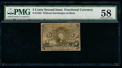 AC Fr 1232 $0.05 1863 fractional 2nd issue PMG 58 comment  no surcharge.