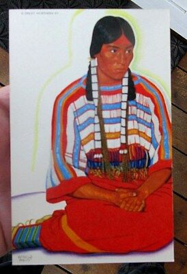 ca 1940s GN RAILROAD WINOLD REISS NATIVE AMERICAN INDIAN MAIDEN POSTCARD
