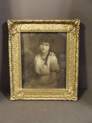 Antique Victorian Gold Gilt Gesso Wood Picture Frame With Photo Portrait Woman