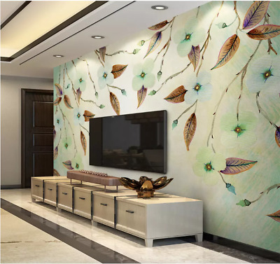 3D Autumn flower Self-adhesive Removable Photo Wallpaper Wall Mural Sticker