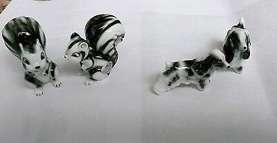 Vintage SHIKEN Japan BONE CHINA Miniature Skunks and cocker spaniel Figurines
