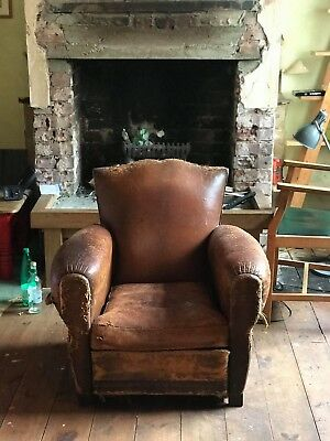 2 x matching vintage French gendarme leather club chairs