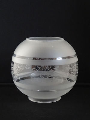 Victorian Style White Frosted Glass Globe Oil Lamp Shade with Motif