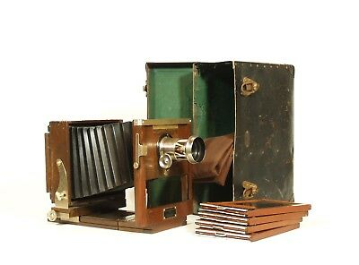 1890's Kodak Antique Wood Tailboard Camera w/Original Case, Plate Holders, More