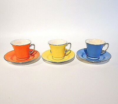 Tazas Café Crown Devon Harlequin Three Coffee Cups And Saucers