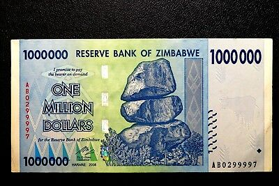 """Zimbabwe """"well Used"""" $1,000,000 One Million Dollars Note ~Buy It Now Only £1.49."""