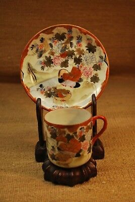 Antique Japanese Satsuma Porcelain Cup & Saucer, W/ Wooden Stand. Hand-Painted.