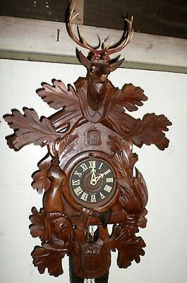 Very Nice German Black Forest Large Hand Carved 8 Day Hunter Deer Cuckoo Clock!