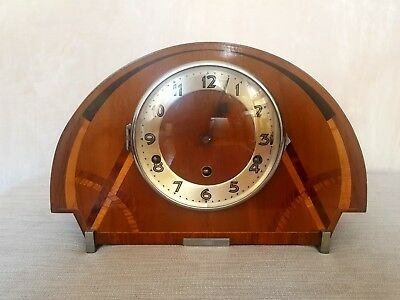 Stunning Art Deco Mantle Clock Westminster Chimes Working Vintage Inlaid Wooden