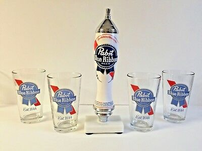 Pabst Blue Ribbon PBR Beer Pub Style Tap Handle & Four (4) 16 oz Pint Glass  New