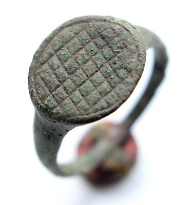 Ancient Medieval Bronze Finger Ring ''FERTILITY FIELD'' (OCR)