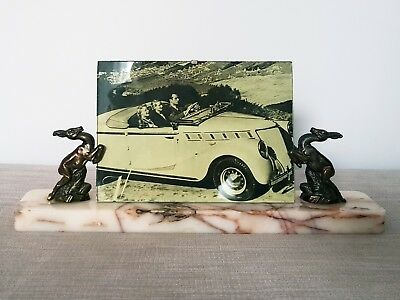 Stunning and Original Art Deco Marble Photo Frame with Leaping Spelter Deer