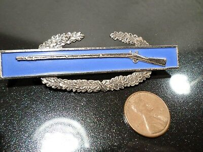 WW2  CIB Combat Infantry Badge ~~~ STERLING ~~~ early Flat Clutchbacks