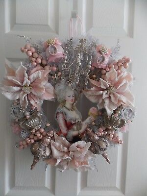 Shabby French Chic Marie Antoinette Doll Ornament Christmas Wreath W/ Roses&